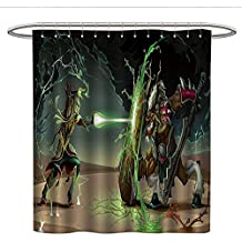 Anshesix Anime Decorfunny Shower curtainAnimal Comics Superheros with Dangerous Wild Powers Goat with Rays Lights PrintPlastic Shower curtainMulticolor