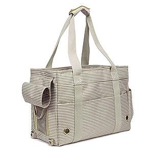Fashion Pet Dog Carriers Cat Travel Carrying Handbag for Outdoor Travel Walking Hiking (White stripe)