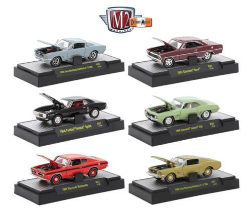 (1:64 M2 MACHINES COLLECTION - DETROIT MUSCLE RELEASE 37 IN ACRYLIC DISPLAY CASES Diecast Model Car By M2 Machines Set of 6 Cars )