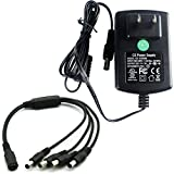 AC 100-240V to DC 12V 2A 24W Power Supply Adapter with 1 to 4 Power Splitter Cable For CCTV Cameras DVR NVR LED Light Strip 5.5 * 2.1mm UL cUL LISTED FCC