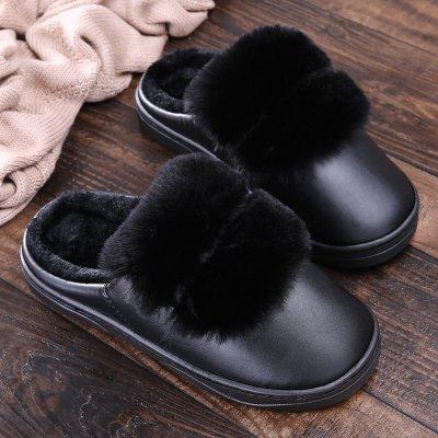 Inverno habuji pantofole di spessore del pacchetto al coperto con home antiscivolo morbida impermeabile di fondo antiscivolo pantofole di cotone per gli uomini e per le donne, 43/44, nero