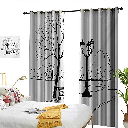 (Wen Zhouqw Tree Urban Life Escape Zone for Peace and Serenity in Park with Trees and Bench Artprint Black White Perforated Curtain)
