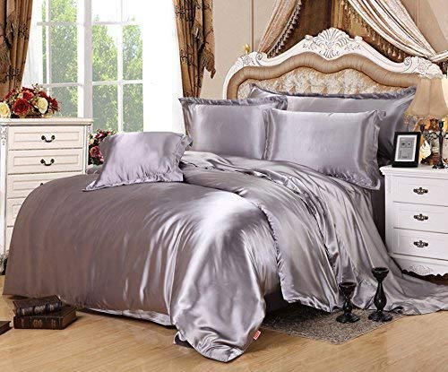 UniTendo Luxury 4-Piece Satin/Sateen Silky Bed Sheet Set Bedding Collection,Summer Duvet Cover Sets Flat Sheet Set-Silver Grey,Queen