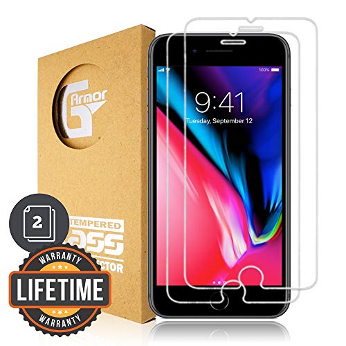 G-Armor Glass Screen Protector for iPhone 8 Plus, 7 Plus, 6s Plus, 6 Plus (5.5-inch iPhones) - Shatterproof Tempered Glass Protective Screen Cover, Case Friendly, Anti Scratch, Clear (2 Pack)