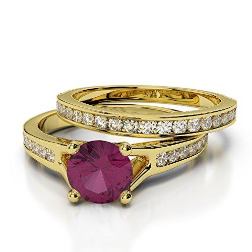 Or jaune 18carats 1CT G-H/VS Certifié Coupe ronde Rubis et diamant de mariage Bague de fiançailles et ensemble de Agdr-2047