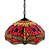 Whse of Tiffany P161467A Tiffany Style Dragonfly Hanging Lamp - Red