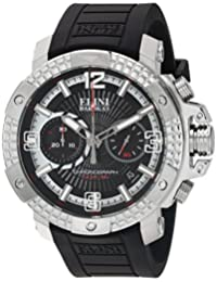 Elini Barokas Men's 'Arena' Swiss Quartz Stainless Steel and Silicone Automatic Watch, Color:Black (Model: 20033-01)