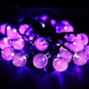 ipuis 20ft sola bola solar guirnalda de luces luz cadena lámpara con 30LED cristal bolas como de iluminación interior y exterior para valla Ruta Paisaje Jardín Decoración, morado