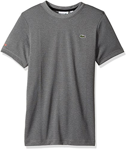 Lacoste Men's Tennis Short Sleeve Tone Heather Jersey T-Shirt, Silver Chine/Black/Mexico Red, (Lacoste T-shirt Short)