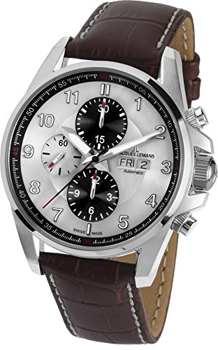Jacques-Lemans-Mens-1-1750B-Liverpool-Automatic-Analog-Display-Swiss-Automatic-Brown-Watch