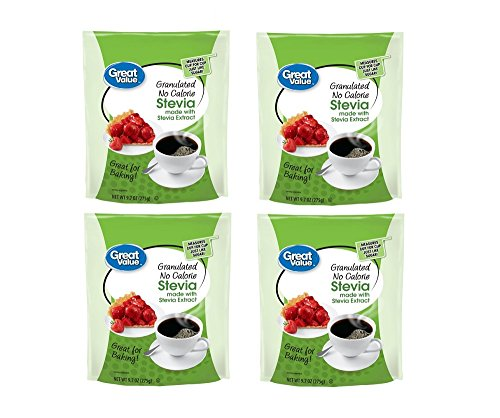 Great Value Granulated No Calorie Stevia Sweetener, 9.7oz Resealable Pouch (Pack of 4) by Great Value