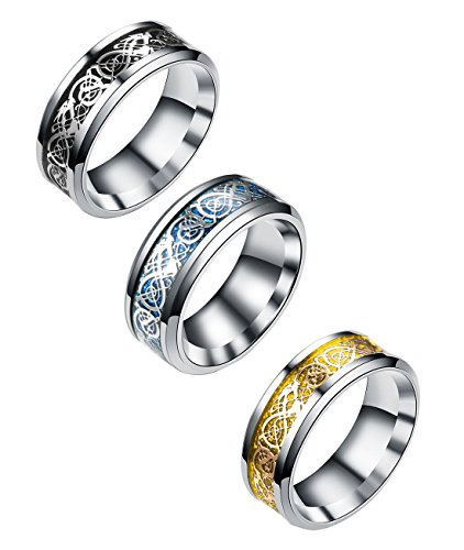 Tanyoyo 3 Pcs 8mm Celtic Dragon Rings for Men Women Stainless Steel Wedding Ring Set Size 6-14 (9) (Blue Dragon Wedding Rings)