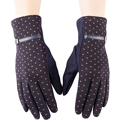 女性のエレガントな暖かい冬手袋with Polka Dot Designでさまざまな色