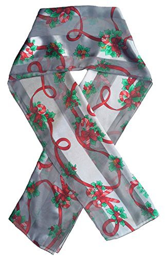 Christmas Candycane, Poinsettia - Christmas Scarf By Crown (Candycane Silver)