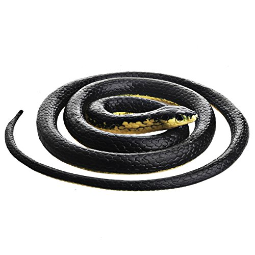 DE Realistic Rubber Black Mamba Snake Toy Garden Props 52 Inch Long (Snake And Mouse Best Friends)