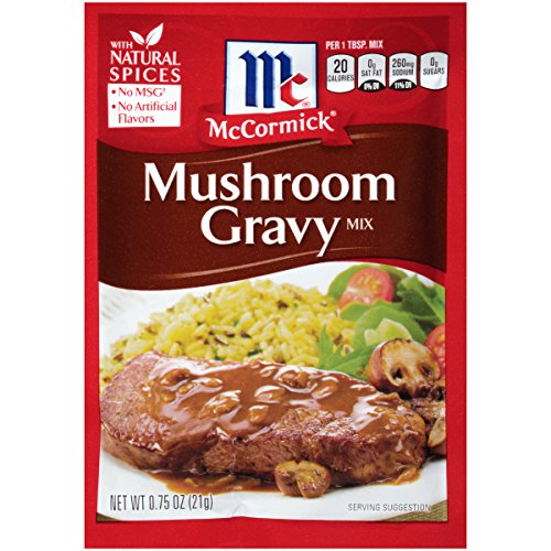 McCormick Mushroom Gravy Mix, 0.75 oz, Homemade No-Lump Mushroom Gravy in Just Five Minutes, Add Some Red Wine for Extra Richness (Pack of 12)