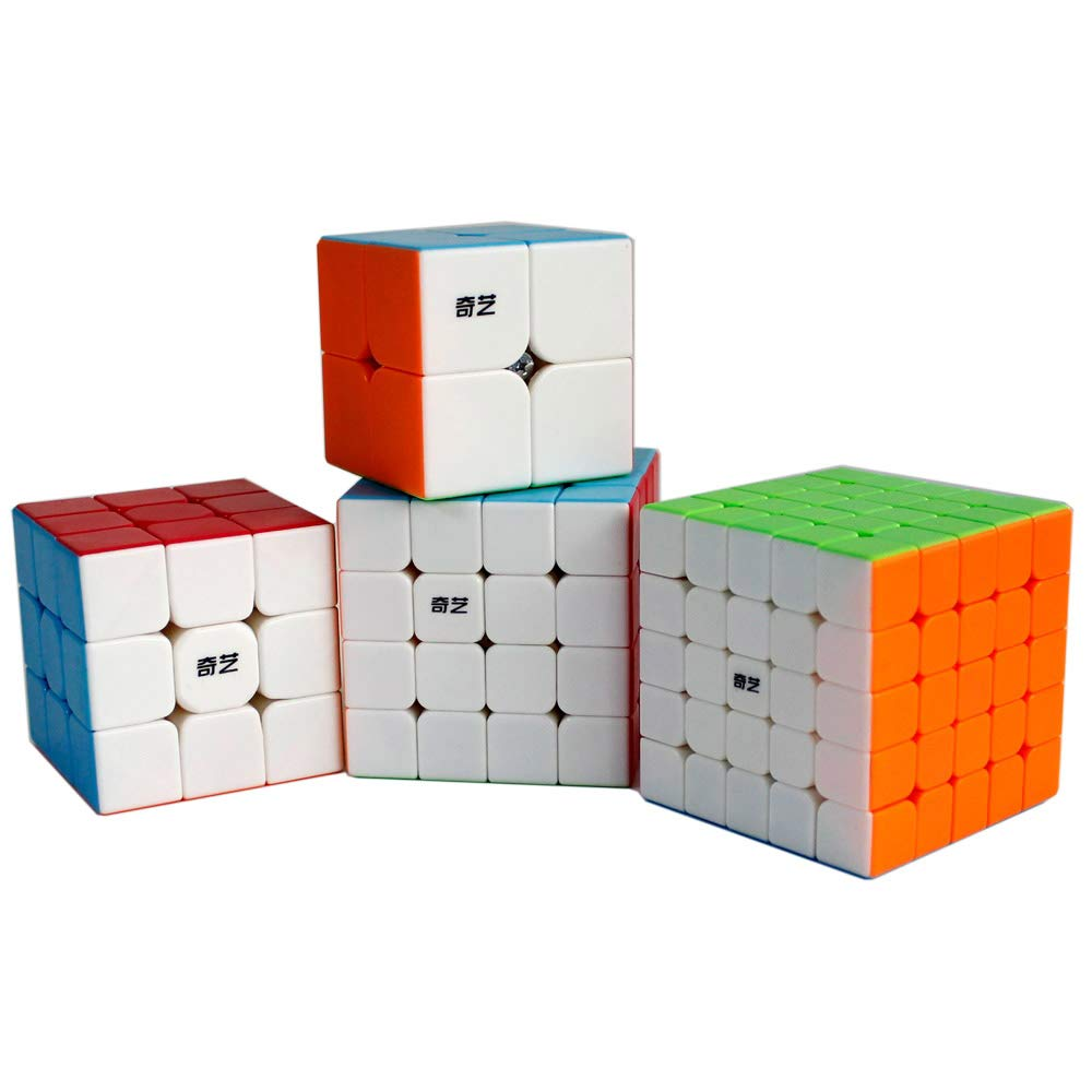 FAVNIC Magic Cube Set 4 Pack 2x2 3x3 4x4 5x5 Magic Cube Smooth Puzzles Cube Set with Gift Packing color