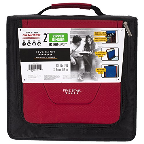 Five Star 2 Inch Zipper Binder, Tech Pocket, Durable, Red / Black (73252)