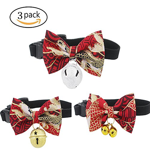- foviupet Pet Bow Collar Cat Bow Tie 3 Pack/Set Cat Collar kitty Adjustable Japanese kimono style bow dog collar leash cat accessories With The Bell For Cats And Small Dogs (Medium, Red)