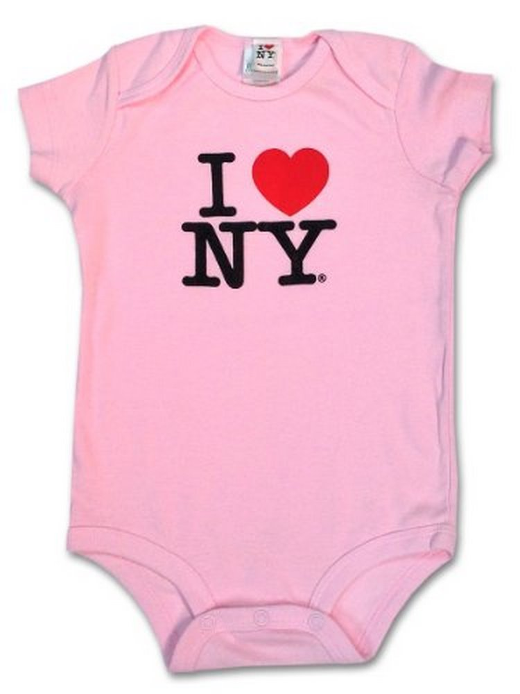 S & T World Products I Love NY Babies Onesie 100% Soft Cotton Pink 12 Month