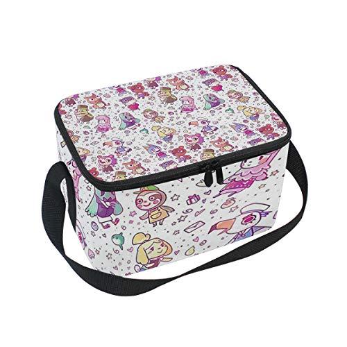 Lunch Bag Cooler Tote Bag Animal Crossing Pattern Lunchbox Meal Prep Handbag for Picnic School Women Men Kids ()