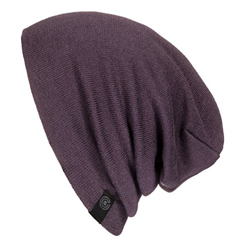(Evony Warm Slouchy Beanie Hat - Deliciously Soft Daily Beanie in Fine Knit (Eggplant))