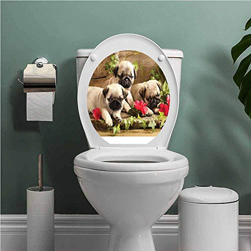 SCOCICI1588 Pug Bathroom Toilet seat Sticker Decal Cute Sibling Puppies with Floral Arrangement in Front Wooden Backdrop Seat Sticker Decor Eggshell Brown Fern Green W13XL18 INCH (Jewel Shell Toilet Seat)