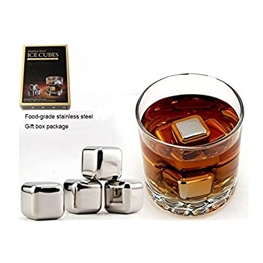 Whisky Stainless Steel Chilling Reusable Ice Cubes & Ice Tongs with Non-slip Rubber Sleeve in Gift Box (Set of 8)