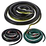 3 Pieces Large Rubber Snakes Realistic Fake Snakes Black Mamba Snake Toys for Garden Props to Keep Birds Away, Pranks, Halloween Decoration