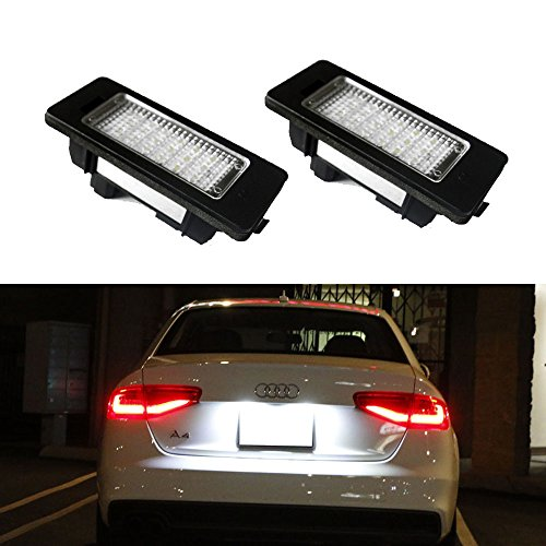[iJDMTOY (2) 24-SMD Error Free LED License Plate Light Lamps For Audi A4 A5 A6 A7 S4 S5 S6 S7 RS4 RS5 RS7 Q5, etc] (Audi A4 Lights)