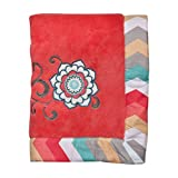 Trend Lab Waverly Pom Pom Play Embroidered Fleece Baby Blanket, Coral
