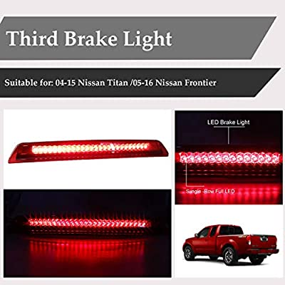 LED Third Brake Light Assembly High Mount Stop Light Cargo Lamp with Waterproof Gasket for 2004-2015 Nissan Titan, 2005-2016 Nissan Frontier 26590-EA800 (Chrome Housing Red Lens): Automotive