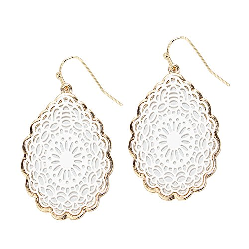 Large Floral Filigree - Pomina Coated Filigree Floral Drop Earrings (White)