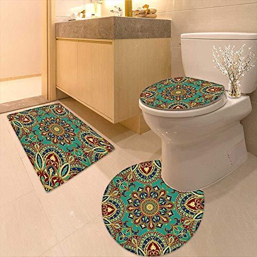 Non-Slip Bath Toilet Mat Pattern Mandala Style Islamic Medieval Arabesque Motifs Oriental Ethnic Design Red Green High Absorbency by Printsonne