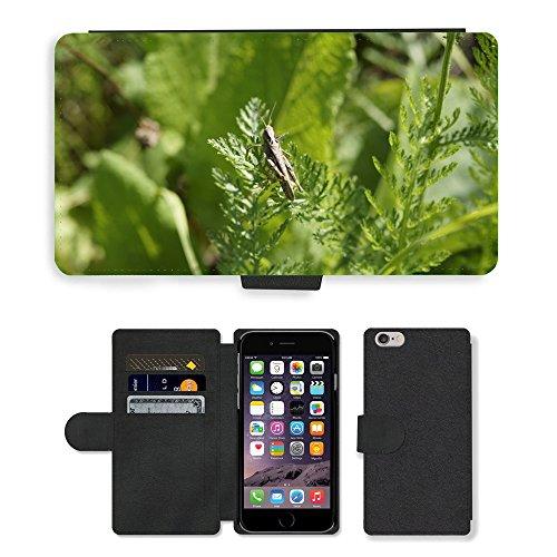 "Just Phone Cases PU Leather Flip Custodia Protettiva Case Cover per // M00127344 Pré vert Grasshopper Summer // Apple iPhone 6 4.7"""