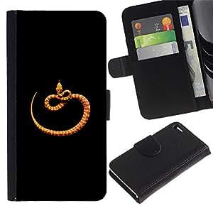 Billetera de Cuero Caso del tirón Titular de la tarjeta Carcasa Funda del zurriago para Apple Iphone 4 / 4S / Business Style orange black minimalist snake nature
