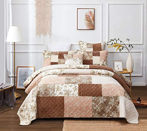 DaDa Bedding Bohemian Patchwork Bedspread - Dusty Tea Rose Mauve Pink & Chocolate Brown Floral - Soft Quilted Coverlet Set - Queen -3-Pieces