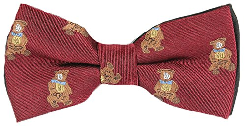 Flairs New York Animal Lovers' Little Bow Tie (Bordeaux Wine / Stripes [Teddy Bear])