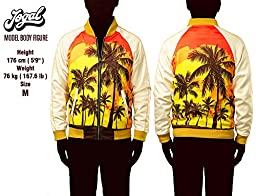 JOGAL Mens Zipper Bomber Jacket Lettermen Style Sunset Coconut Tree Couples Top X-Large