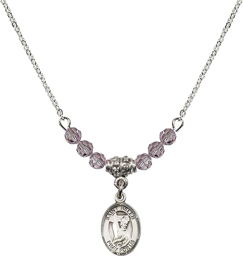 18-Inch Rhodium Plated Necklace with 4mm Light Amethyst Birthstone Beads and Sterling Silver Saint Helen Charm.