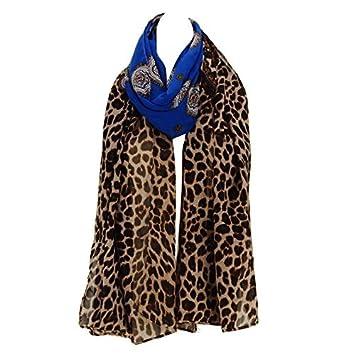 DEED Foulards en Mousseline de Soie Grande Taille imprimé léopard,Bleu 4f5e42d3b13