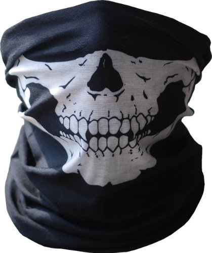 T-Mask Skull Tube Face Mask Motorcycle Tubular Skeleton Biker Snowboard Neck Gaiter Stretchable Wind Bugs Dust Shield Snowmobile for Kids and Adults by Tmask ()
