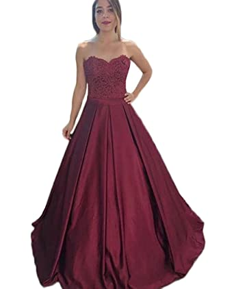 QiJunGe Appliques Sweetheart Satin Prom Dresses Ball Gown Formal Evening Gowns Burgundy US 2