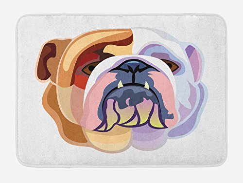 Ambesonne English Bulldog Bath Mat, Bicolor Cartoon Style Bulldog Portrait Abstract Animal Design, Plush Bathroom Decor Mat with Non Slip Backing, 29.5 W X 17.5 W Inches, Brown Pale Muave Pink by Ambesonne