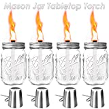 Glass Mason Jar Tabletop Torch,Outdoor Oil Lamp Torch with Fiberglass Wicks,Stainless Steel Lids and Fire Cover Caps(Jar Included),for Patio Garden Party Wedding Decorations Torch Lights,Set of 4