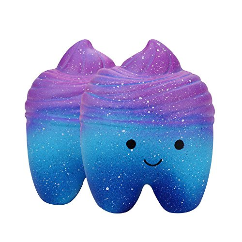 Christmas Best Toy Gift!!!Kacowpper 10cm Galaxy Teeth Cake Scented Squishies Slow Rising Squeeze Toys Collection Toy]()