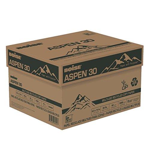 BOISE ASPEN 30 MULTI-USE RECYCLED COPY PAPER, 8 1/2'' x 14'', Legal, 92 Bright White, 20 lb., 5000 Sheets/Carton, 30 Cartons/Pallet