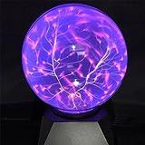 Plasma Ball Light, Leagway 6 inchTouch Sensor Sphere Magic Night Light Novelty Toy, Lightning Globe Music Table Desk Lamp for Party, Decoration, Bar, Bedroom, Home, Xmas Gift (Blue Light 6 inch)