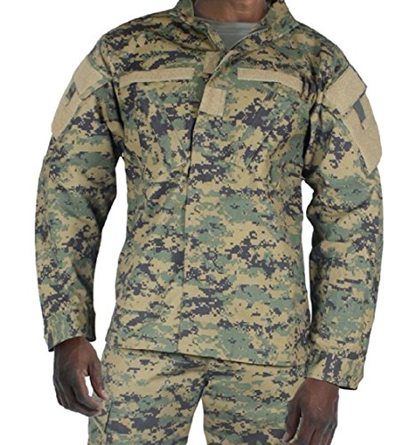 Mens Woodland Digital Camouflage Military Spec Army Combat Uniform Shirt ()