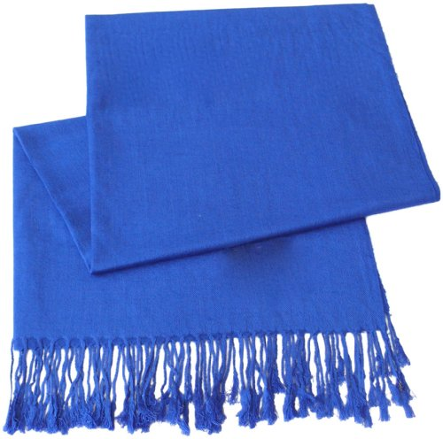 (CJ Apparel Royal Blue Solid Color Design Shawl Scarf Wrap Pashmina SecondsNEW)